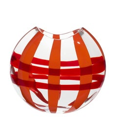 Small Eclissi Vase in Orange and Red by Carlo Moretti