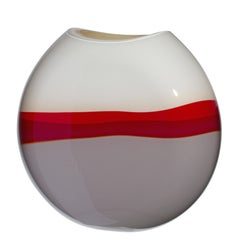 Large Eclissi Vase in Red, Ivory, and Grey by Carlo Moretti