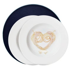 Box of 2 Dinner Pasta Plates without Gold Collection Le Coeur De La Mamma