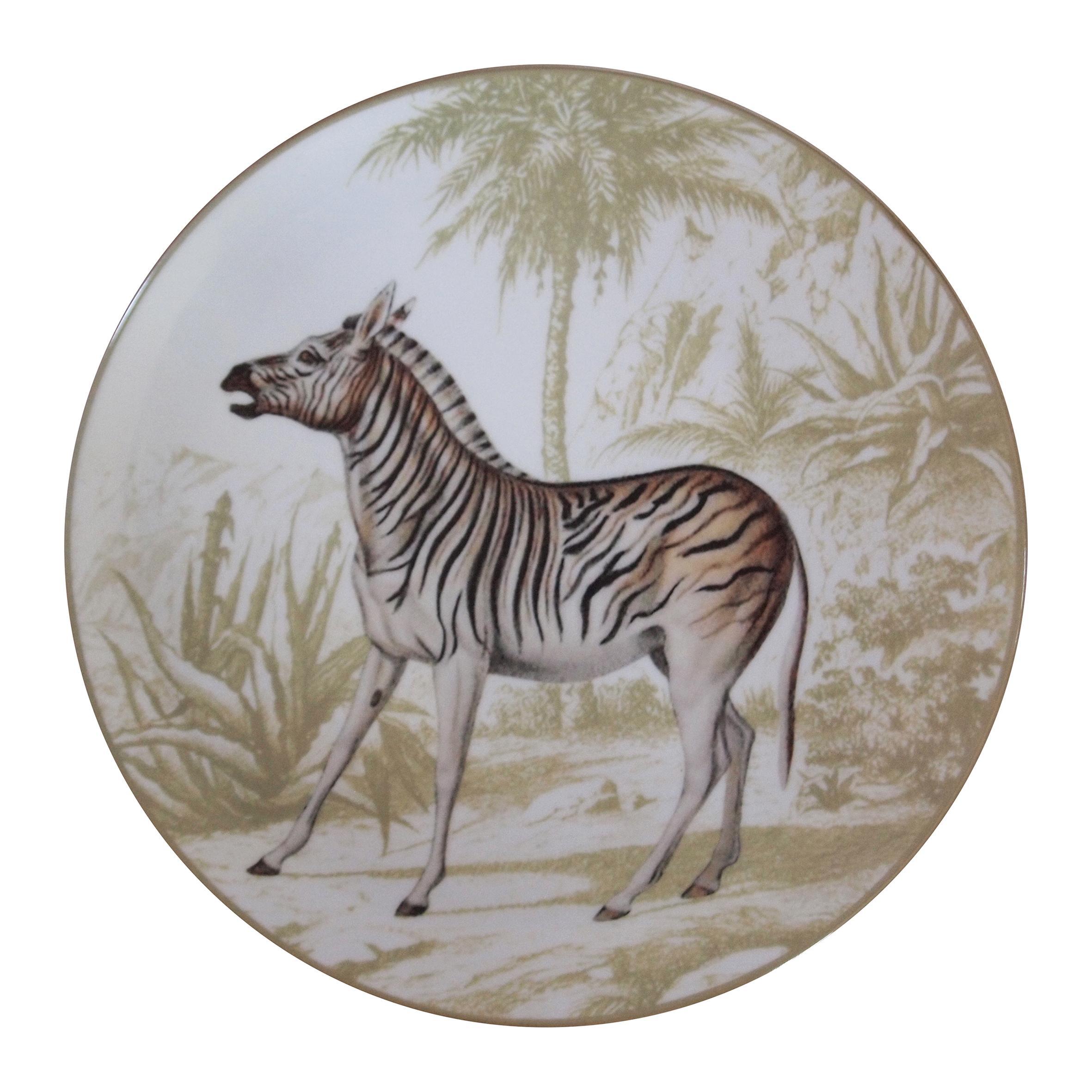 La Menagerie Ottomane Zebra Porcelaine Dinner Plate Handmade in Italy