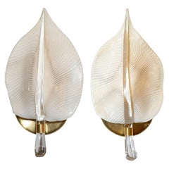 Pair of Mid-Century Modern Handblown Murano Glass Honeycomb Leaf Sconces