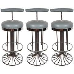 Set of Three Mid-Century Modern Chrome and Dove Gray Swivel Bar Stools