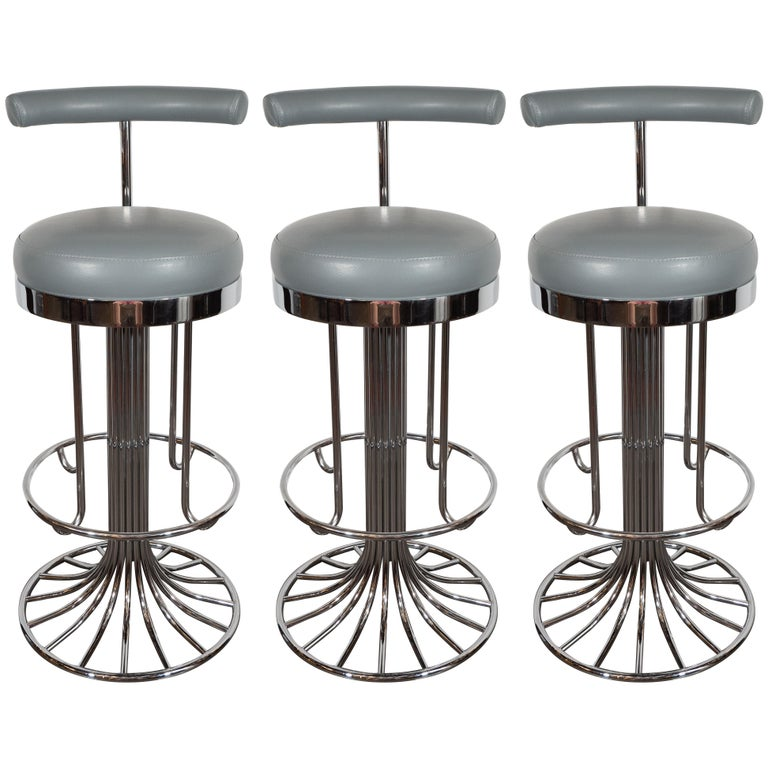 Set Of Three Mid Century Modern Chrome And Dove Gray