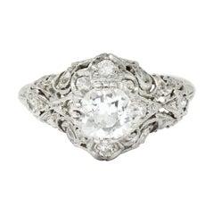 Wheeler & Co. Edwardian 1.05 Carats Diamond Platinum Scrolled Engagement Ring