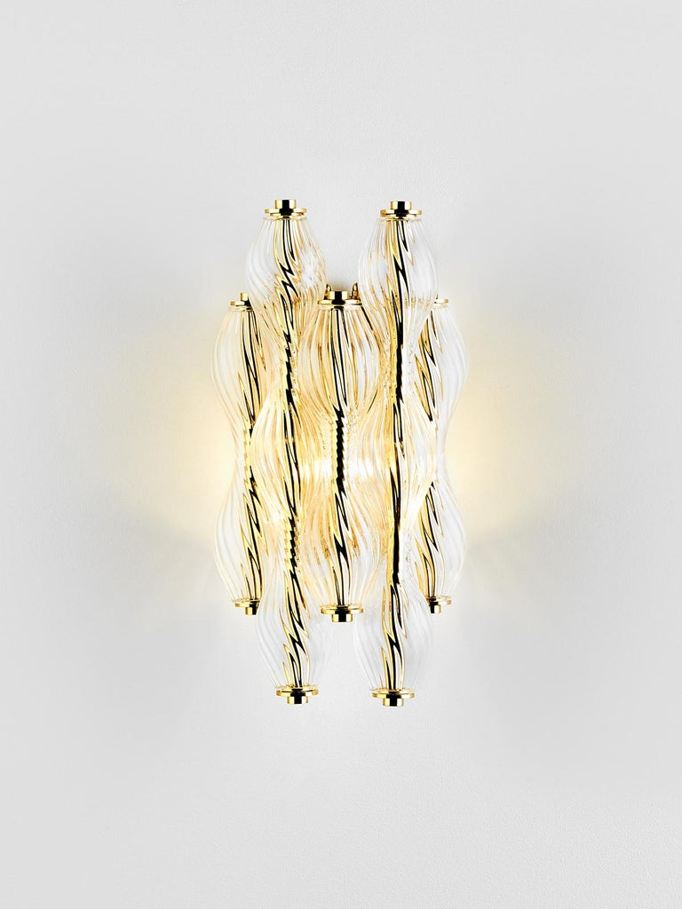 And Objects, product design studio founded by Martin Brudnizki and Nick Jeanes based in London.  Crafted from hand blown, twisted glass, the Wherwell Wall Light is suspended from a traditional solid brass mount, made-up of individual spiralled glass