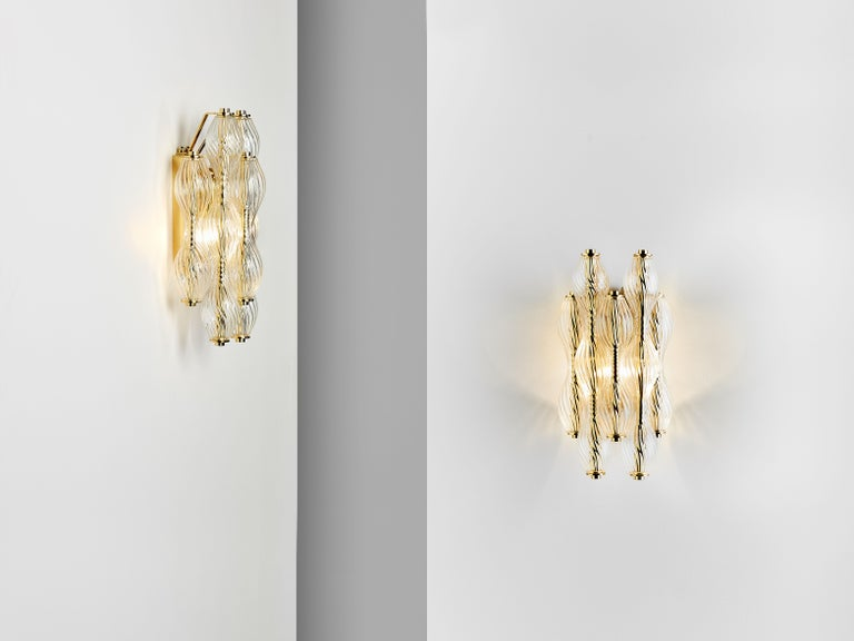 And Objects Wherwell Wall Light Sconce, Brass and Hand Blown Glass In New Condition For Sale In London, Greater London