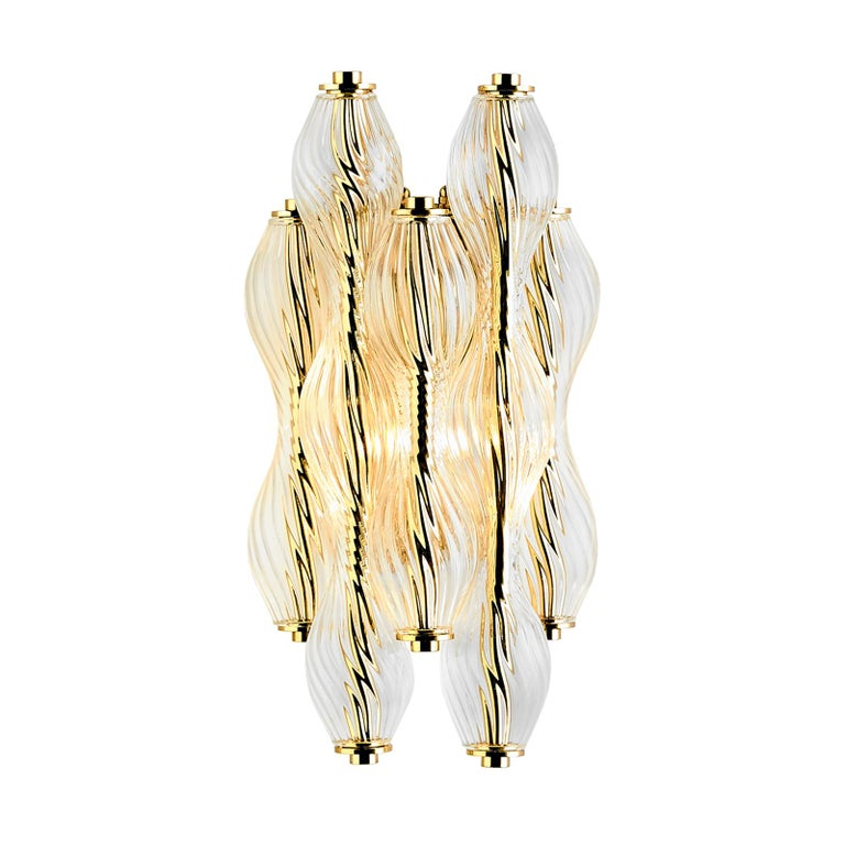 And Objects Wherwell Wall Light Sconce, Brass and Hand Blown Glass For Sale