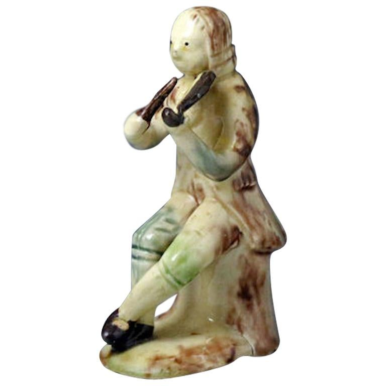 Whieldon-Astbury Pottery Figure of a Violinist Staffordshire, Mid-18th Century For Sale