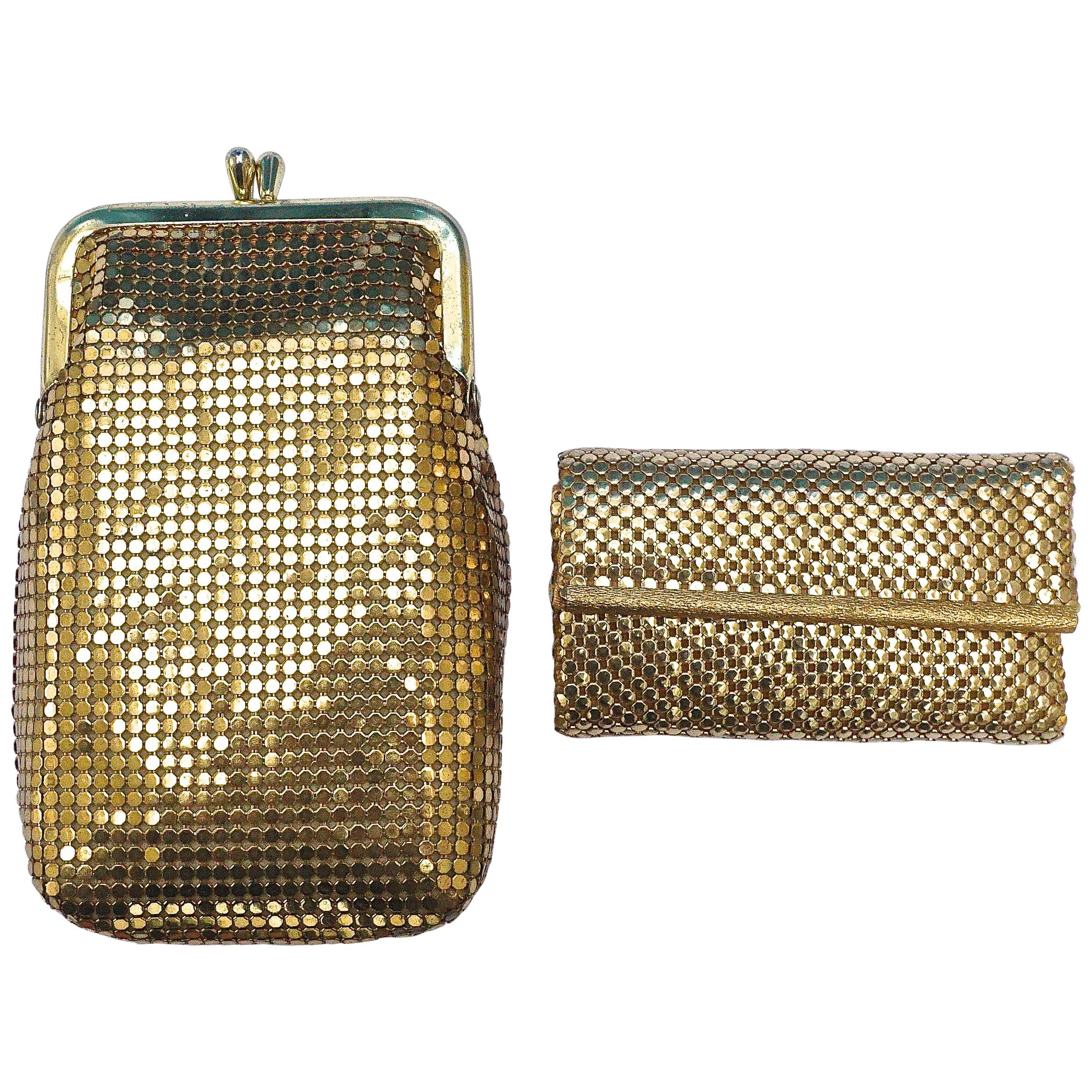 Whiiting & Davis Gold Mesh Purse and Key Holder in Original Boxes