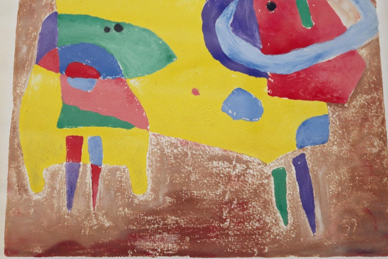 Japanese Whimsical Abstract Painting by Yoshihiro Ueda For Sale