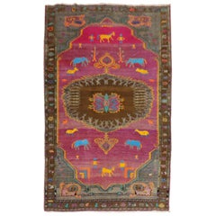 Whimsical Animal Human Figurative Turkish Rug
