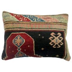 Whimsical Antique Wool Turkish Rug Khotan Inspired Lumbar Size Pillow
