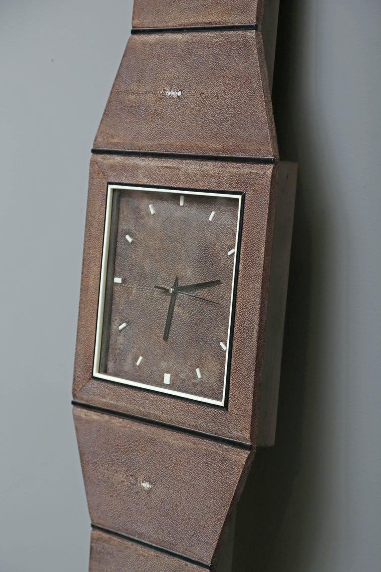French Whimsical Authentic Shagreen Wall Clock by Serge de Troyer, France, 2010 For Sale