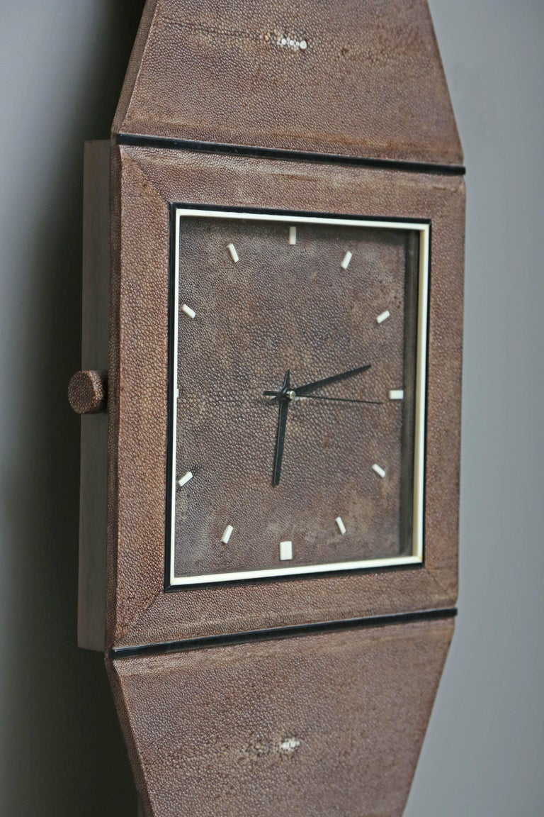 Contemporary Whimsical Authentic Shagreen Wall Clock by Serge de Troyer, France, 2010 For Sale