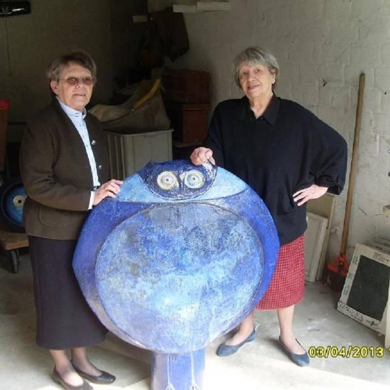 Whimsical Blue Boy and Girl Two Faced Sculpture Master Artisan Eva Fritz-Lindner For Sale 4