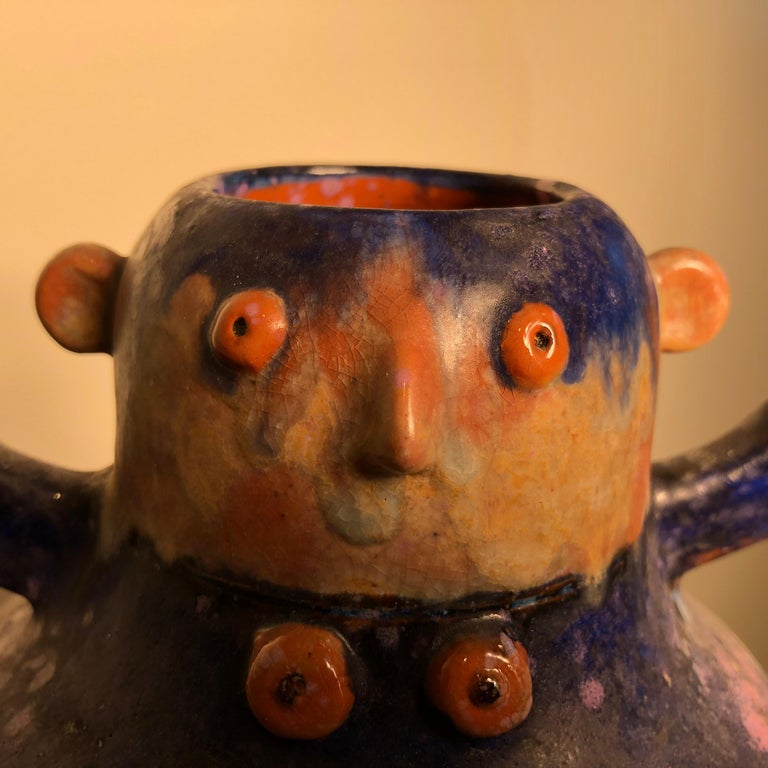 20th Century Whimsical Blue Boy and Girl Two Faced Sculpture Master Artisan Eva Fritz-Lindner For Sale
