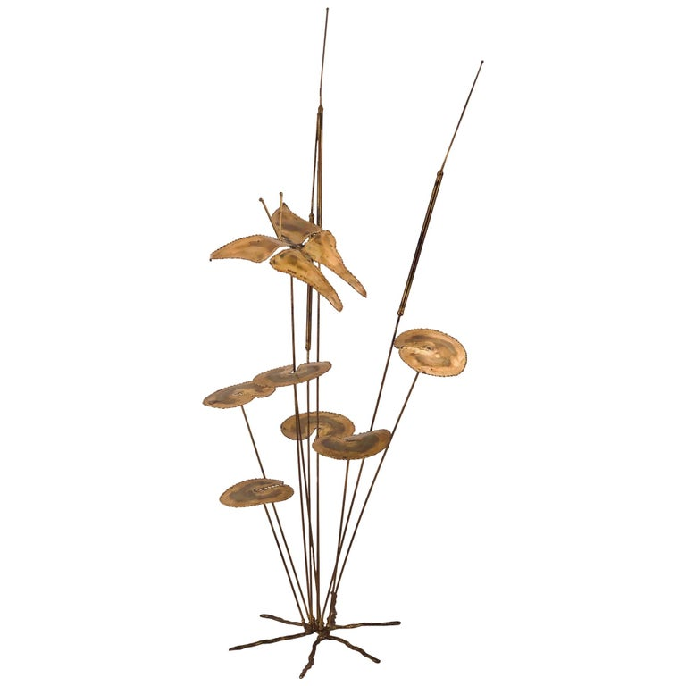 Whimsical Brass Sculpture in the Style of Curtis Jere For Sale