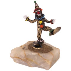Whimsical Bronze Sculpture with Enamel Highlights Signed by Ron Lee