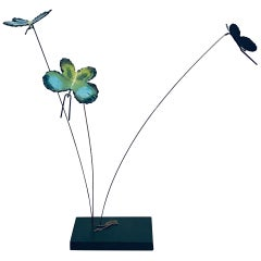 Whimsical Butterflies Kinetic Sculpture in Enameled Copper by Curtis Jere