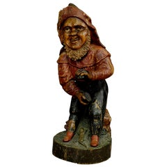 Whimsical Carving of a Dwarf with Snuffbox, 19th Century