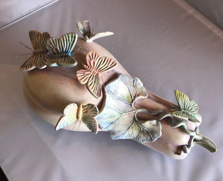 Mid-Century Modern Whimsical Ceramic Butterflies on Squash Sculpture by Sergio Bustamante For Sale