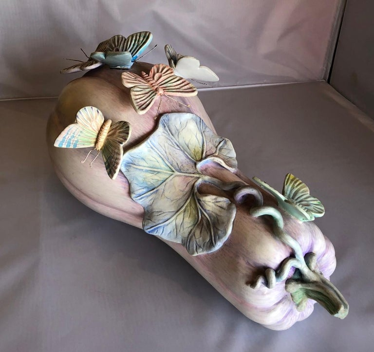Mexican Whimsical Ceramic Butterflies on Squash Sculpture by Sergio Bustamante