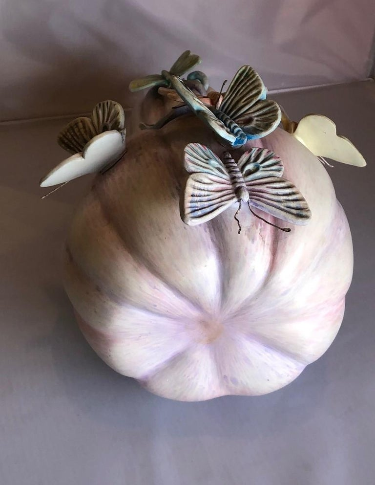 Whimsical Ceramic Butterflies on Squash Sculpture by Sergio Bustamante In Good Condition In San Diego, CA