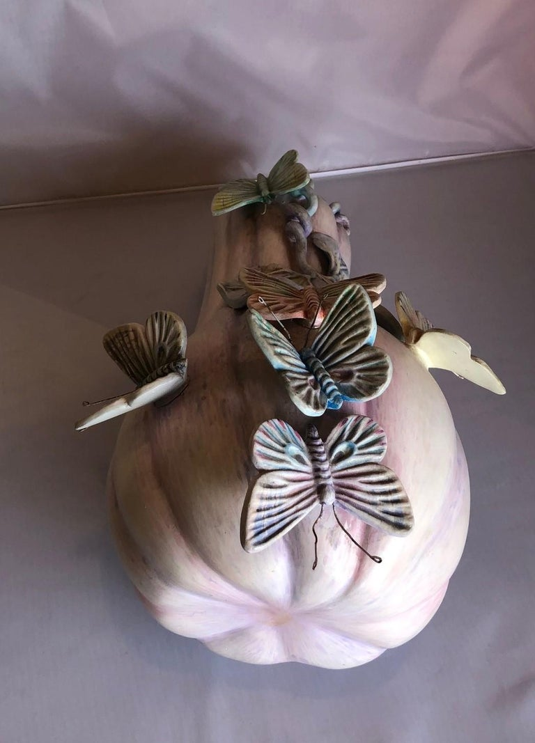 20th Century Whimsical Ceramic Butterflies on Squash Sculpture by Sergio Bustamante