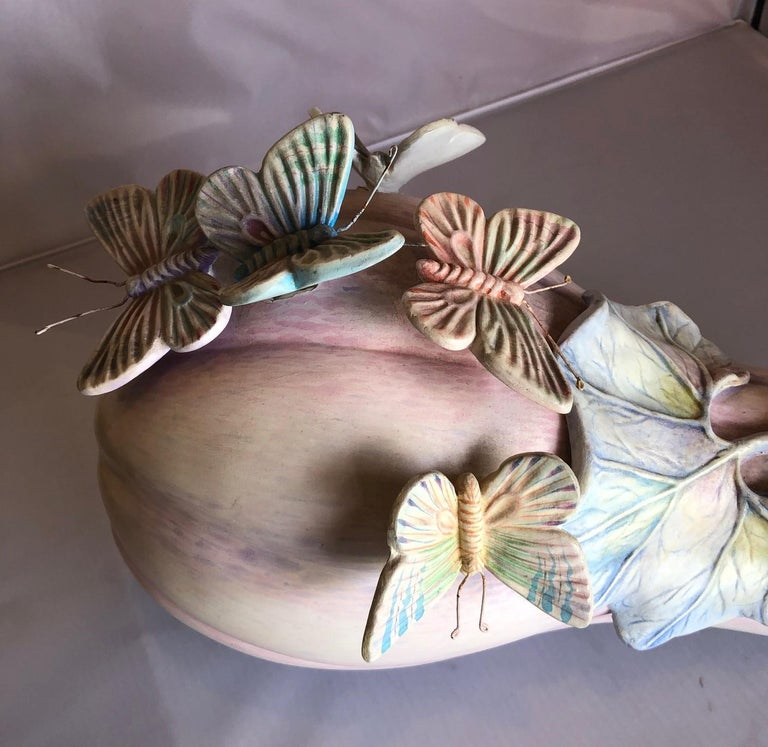 Whimsical Ceramic Butterflies on Squash Sculpture by Sergio Bustamante For Sale 2