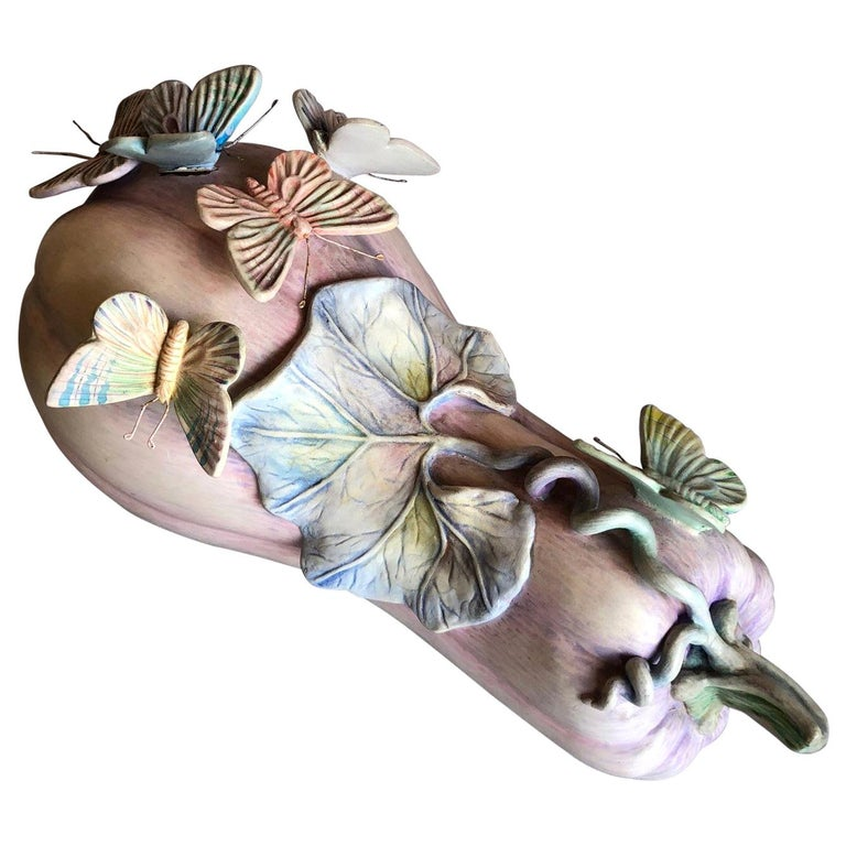 Whimsical Ceramic Butterflies on Squash Sculpture by Sergio Bustamante For Sale