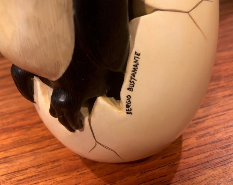 Whimsical Ceramic Hatching Penguin from Egg Sculpture by Sergio Bustamante For Sale 5