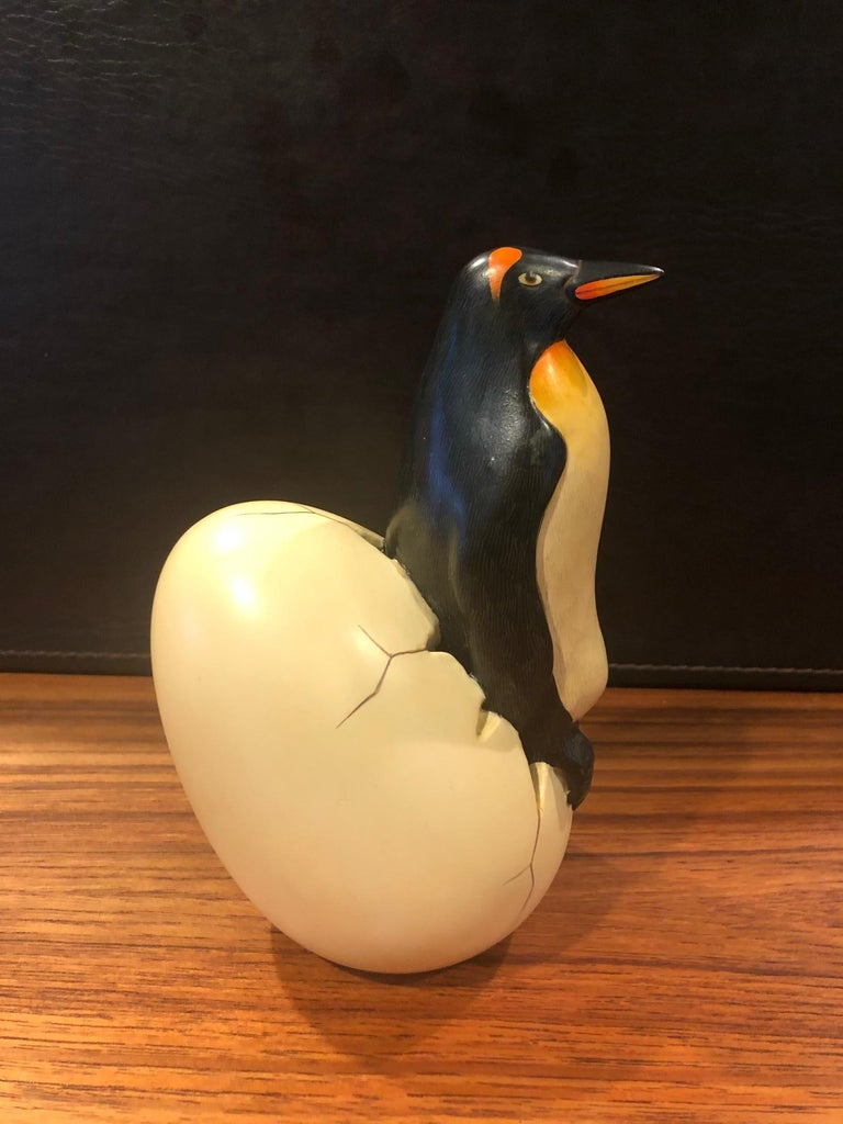 Hand-Painted Whimsical Ceramic Hatching Penguin from Egg Sculpture by Sergio Bustamante For Sale