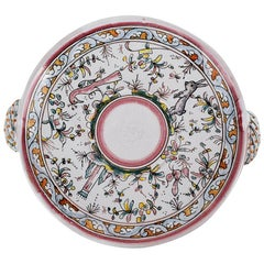 Whimsical Ceramic Pink and Green Spring Theme Platter Made in Portugal