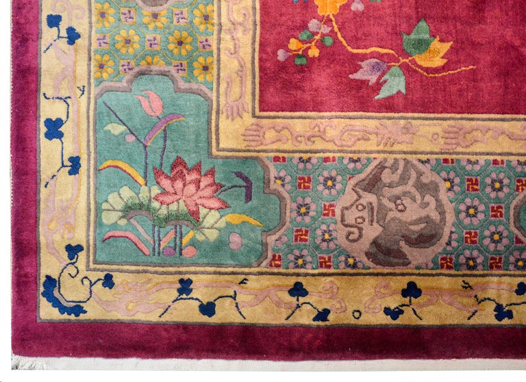Whimsical Chinese Art Deco Rug For Sale 4