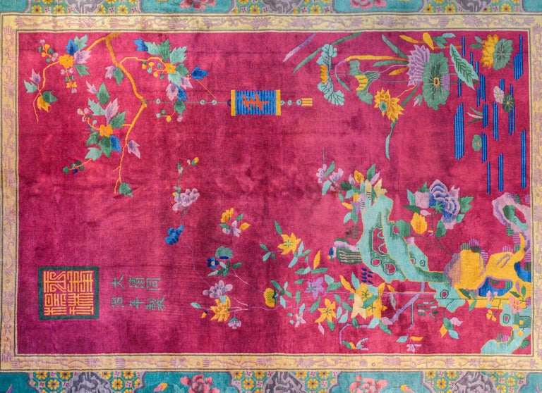 Vegetable Dyed Whimsical Chinese Art Deco Rug For Sale