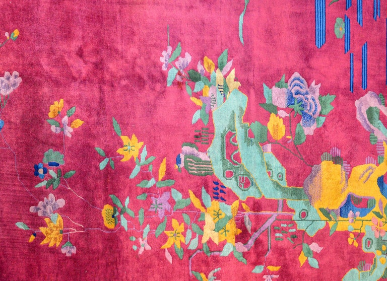 Whimsical Chinese Art Deco Rug In Good Condition For Sale In Chicago, IL