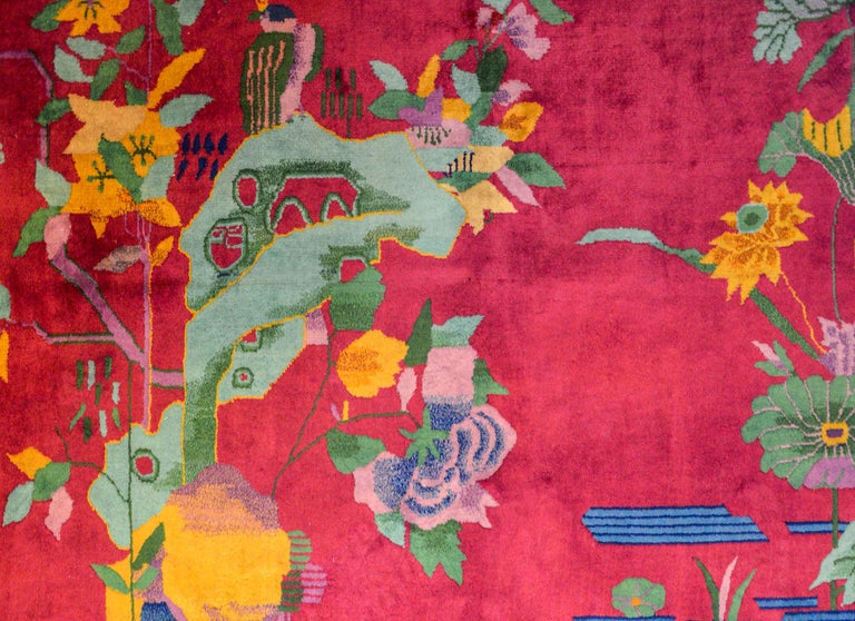 Whimsical Chinese Art Deco Rug For Sale 1