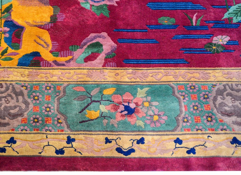 Whimsical Chinese Art Deco Rug For Sale 3