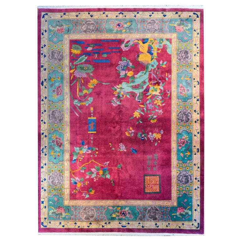 Whimsical Chinese Art Deco Rug For Sale