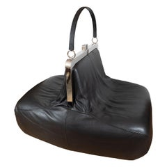 "Whimsical Chrome and Leather ""Handbag"" Chair"
