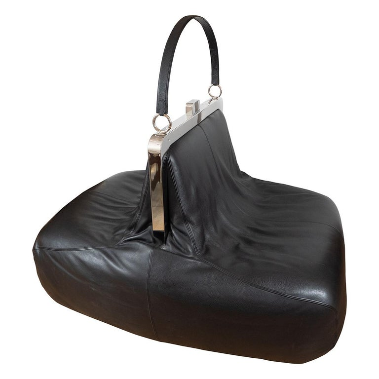 "Whimsical Chrome and Leather ""Handbag"" Chair For Sale"