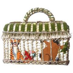 Whimsical Circus Theme Wicker Handbag by Soure Bag NY circa 1950s