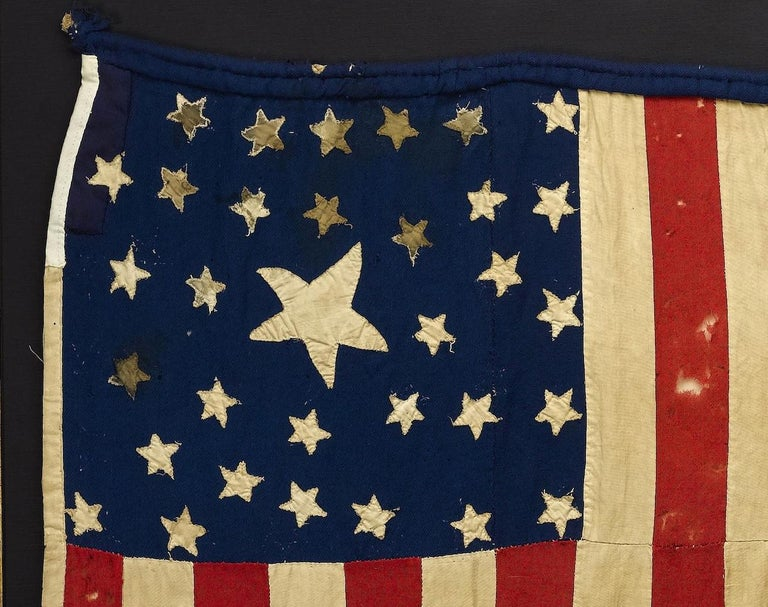 Whimsical Civil War Homemade Flag with 33-Star and 35-Star Cantons, circa 1863 In Good Condition For Sale In Colorado Springs, CO