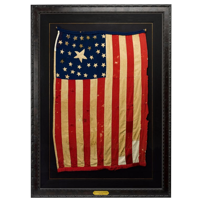 Whimsical Civil War Homemade Flag with 33-Star and 35-Star Cantons, circa 1863 For Sale