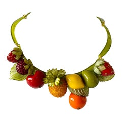 Whimsical Contemporary Fruit Statement Necklace