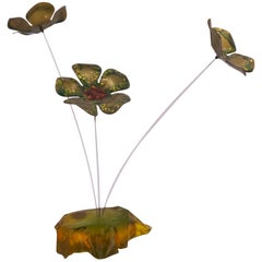 Whimsical Copper on Enamel Flowers Sculpture in the Style of Curtis Jere