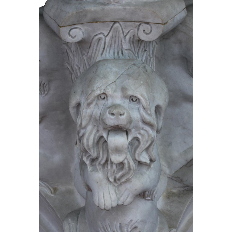Whimsical English 19th-20th Century White Marble Figural Outdoor Dog Fountain In Distressed Condition For Sale In Los Angeles, CA