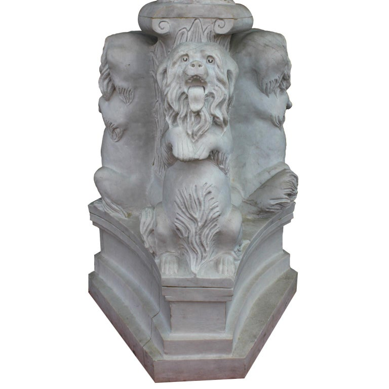 Early 20th Century Whimsical English 19th-20th Century White Marble Figural Outdoor Dog Fountain For Sale