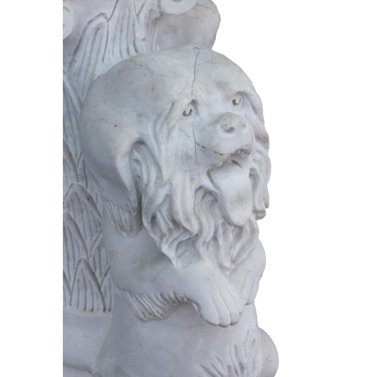 Whimsical English 19th-20th Century White Marble Figural Outdoor Dog Fountain For Sale 1