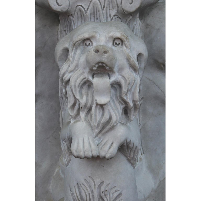 Whimsical English 19th-20th Century White Marble Figural Outdoor Dog Fountain For Sale 2